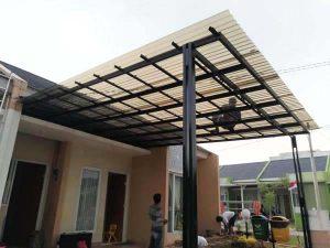 Contoh gambar aknopi baja ringan dengan atap polycarbonete-kanopi murah tangerang