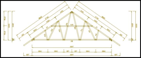 Gambar contoh kerangka konstruksi atap baja ringan